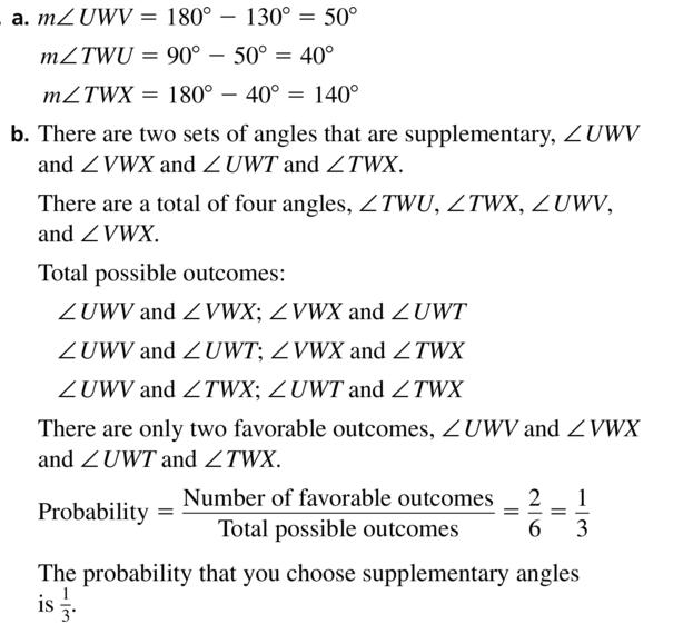 Big Ideas Math Answer Key Geometry Chapter 1 Basics of Geometry 1.6 a 45
