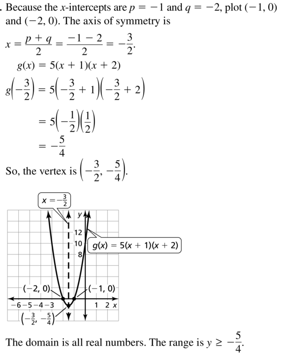 Big Ideas Math Answers Algebra 1 Chapter 8 Graphing Quadratic Functions 8.5 a 11
