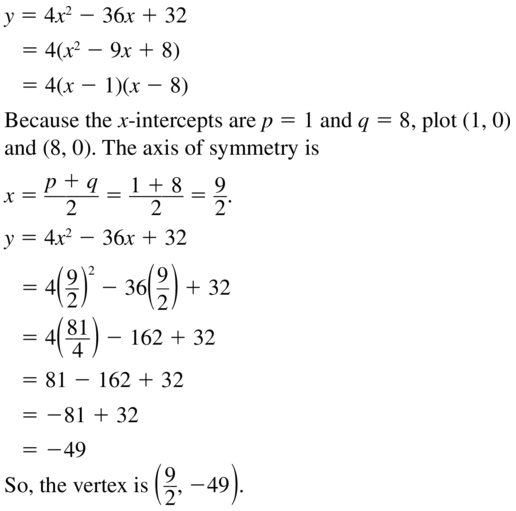 Big Ideas Math Answers Algebra 1 Chapter 8 Graphing Quadratic Functions 8.5 a 19.1