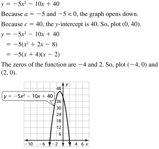 Big Ideas Math Answers Algebra 1 Chapter 8 Graphing Quadratic Functions 8.5 a 41