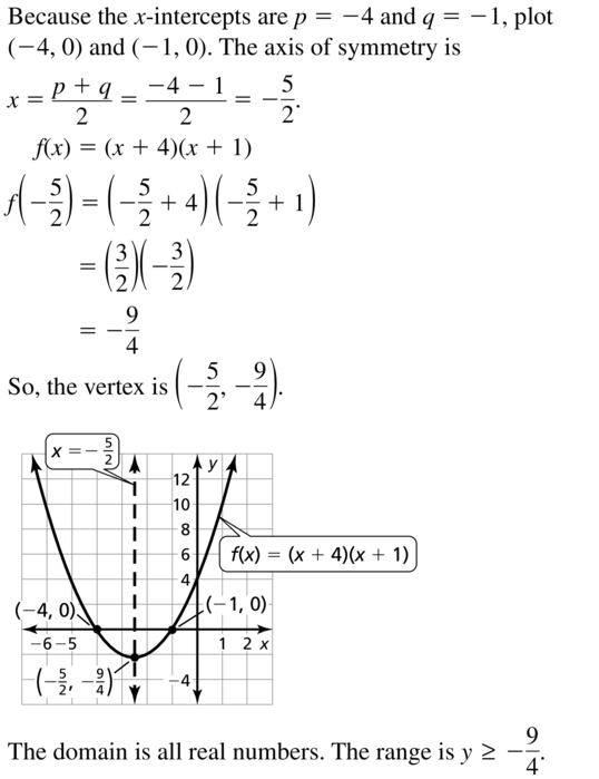 Big Ideas Math Answers Algebra 1 Chapter 8 Graphing Quadratic Functions 8.5 a 7