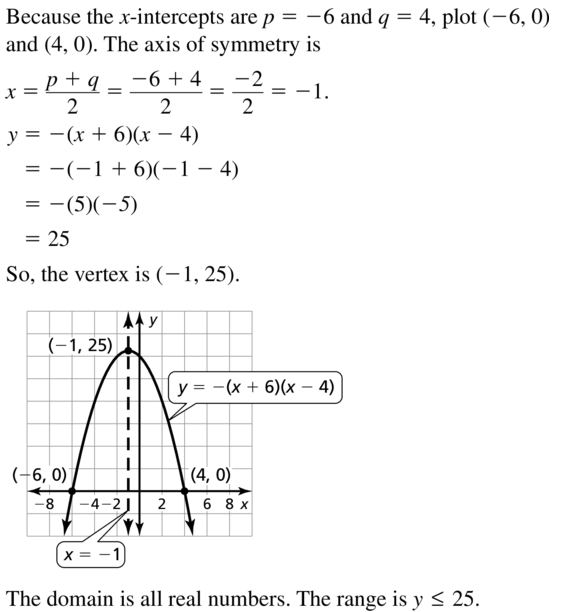 Big Ideas Math Answers Algebra 1 Chapter 8 Graphing Quadratic Functions 8.5 a 9