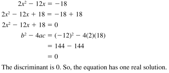 Big Ideas Math Answers Algebra 1 Chapter 9 Solving Quadratic Equations 9.5 a 27