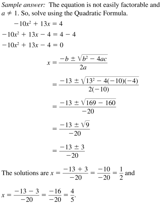 Big Ideas Math Answers Algebra 1 Chapter 9 Solving Quadratic Equations 9.5 a 37