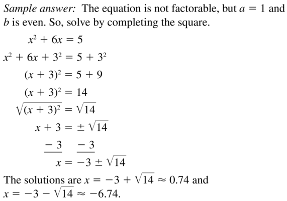 Big Ideas Math Answers Algebra 1 Chapter 9 Solving Quadratic Equations 9.5 a 39