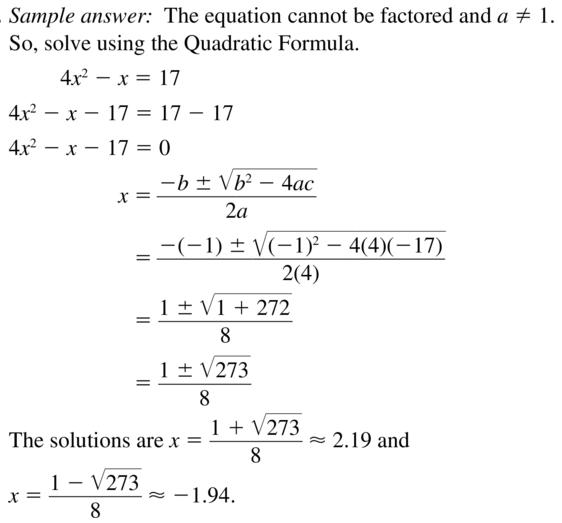 Big Ideas Math Answers Algebra 1 Chapter 9 Solving Quadratic Equations 9.5 a 43