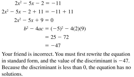 Big Ideas Math Answers Algebra 1 Chapter 9 Solving Quadratic Equations 9.5 a 49