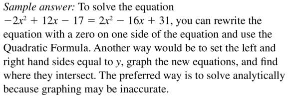 Big Ideas Math Answers Algebra 2 Chapter 3 Quadratic Equations and Complex Numbers 3.5 a 55