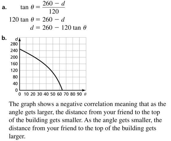 Big Ideas Math Answers Algebra 2 Chapter 9 Trigonometric Ratios and Functions 9.5 a 45