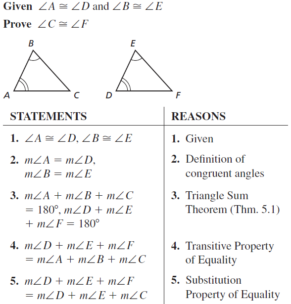 Big Ideas Math Answers Geometry Chapter 5 Congruent Triangles 5.2 a 19.1