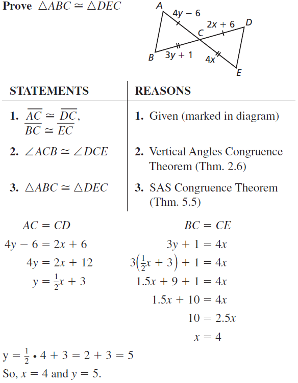 Big Ideas Math Geometry Answer Key Chapter 5 Congruent Triangles 5.3 a 29