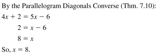 Big Ideas Math Geometry Answer Key Chapter 7 Quadrilaterals and Other Polygons 7.3 a 13