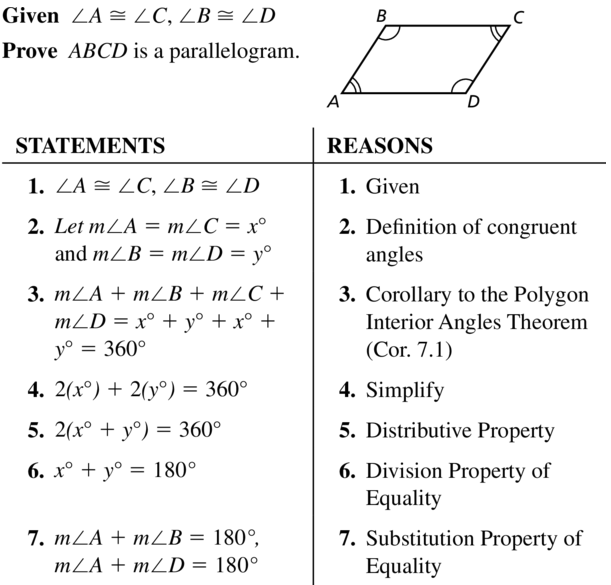 Big Ideas Math Geometry Answer Key Chapter 7 Quadrilaterals and Other Polygons 7.3 a 39.1
