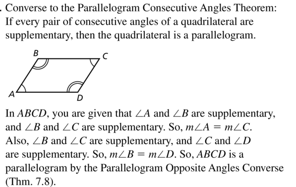 Big Ideas Math Geometry Answer Key Chapter 7 Quadrilaterals and Other Polygons 7.3 a 47