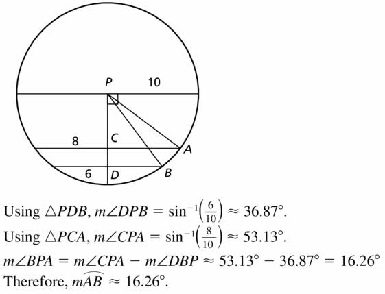 Big Ideas Math Geometry Answers Chapter 10 Circles 10.3 Ans 21