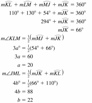 Big Ideas Math Geometry Answers Chapter 10 Circles 10.4 Ans 15