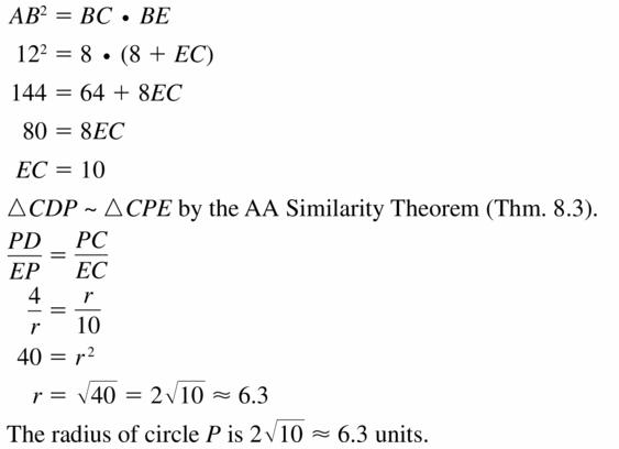 Big Ideas Math Geometry Answers Chapter 10 Circles 10.6 Ans 25