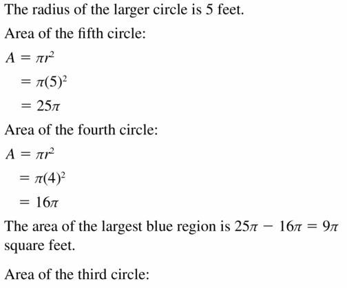 Big Ideas Math Geometry Answers Chapter 11 Circumference, Area, and Volume 11.2 Ques 25.1