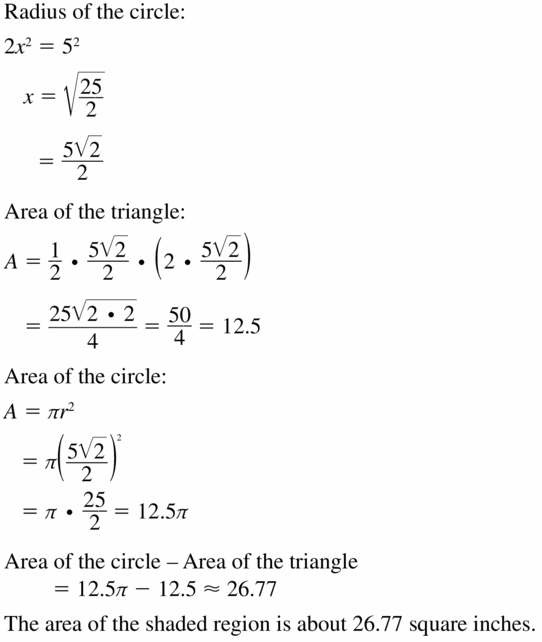 Big Ideas Math Geometry Answers Chapter 11 Circumference, Area, and Volume 11.2 Ques 27.1