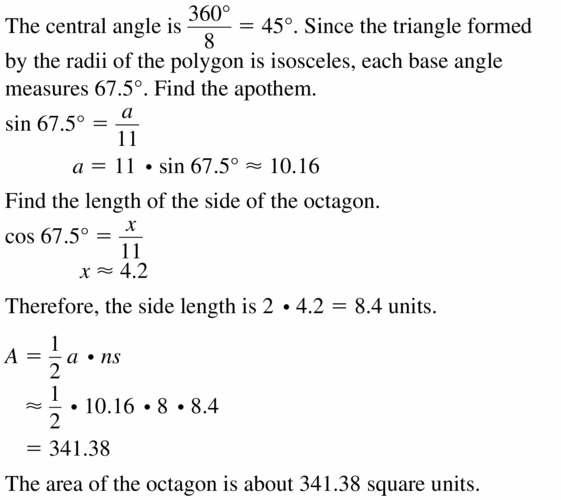Big Ideas Math Geometry Answers Chapter 11 Circumference, Area, and Volume 11.3 Ques 23