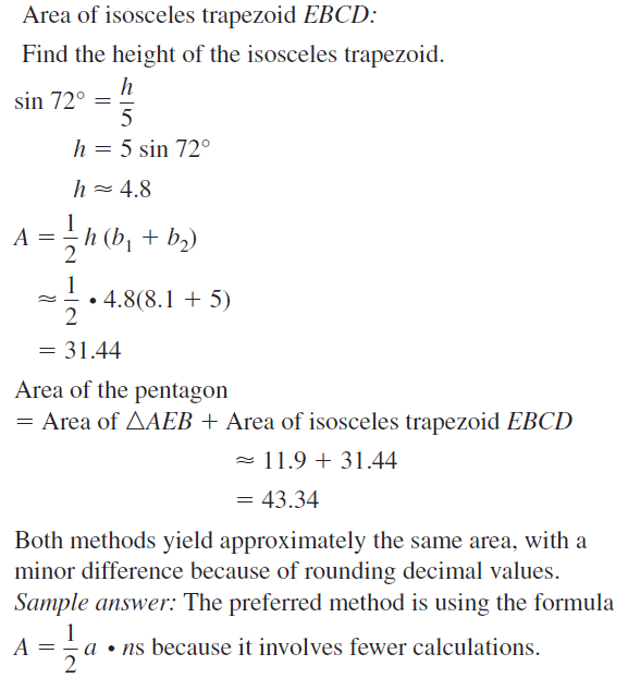 Big Ideas Math Geometry Answers Chapter 11 Circumference, Area, and Volume 11.3 Ques 51.3