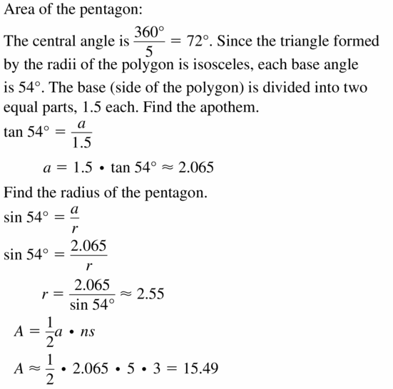 Big Ideas Math Geometry Answers Chapter 11 Circumference, Area, and Volume 11.6 Ques 23.1