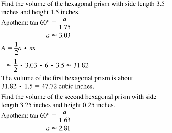 Big Ideas Math Geometry Answers Chapter 11 Circumference, Area, and Volume 11.6 Ques 25.1
