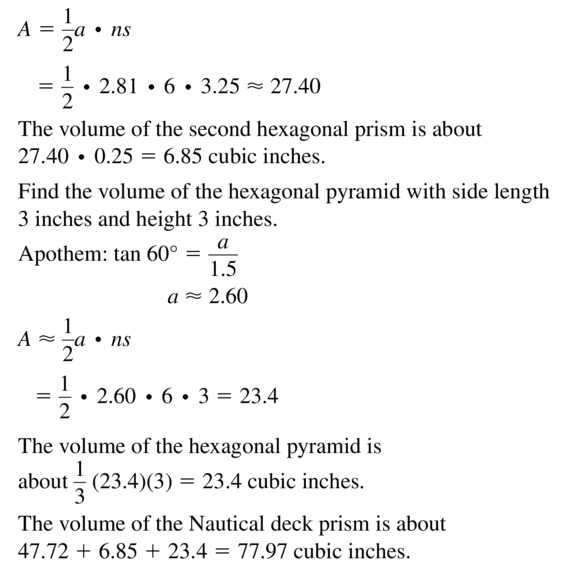 Big Ideas Math Geometry Answers Chapter 11 Circumference, Area, and Volume 11.6 Ques 25.2