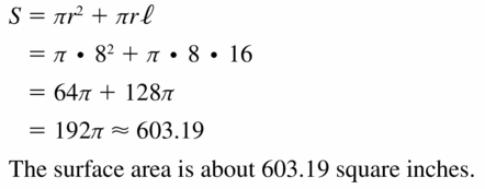 Big Ideas Math Geometry Answers Chapter 11 Circumference, Area, and Volume 11.7 Ques 3