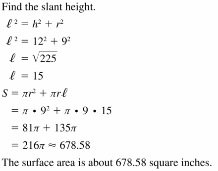 Big Ideas Math Geometry Answers Chapter 11 Circumference, Area, and Volume 11.7 Ques 5