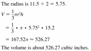 Big Ideas Math Geometry Answers Chapter 11 Circumference, Area, and Volume 11.7 Ques 9