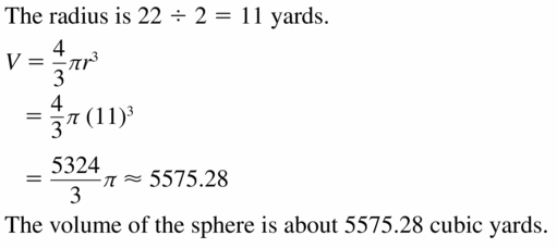 Big Ideas Math Geometry Answers Chapter 11 Circumference, Area, and Volume 11.8 Ques 15