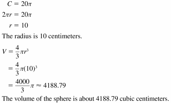 Big Ideas Math Geometry Answers Chapter 11 Circumference, Area, and Volume 11.8 Ques 17