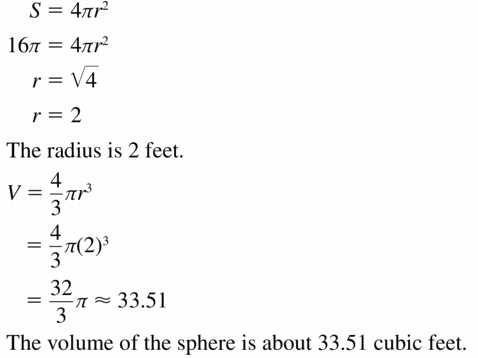 Big Ideas Math Geometry Answers Chapter 11 Circumference, Area, and Volume 11.8 Ques 19