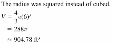 Big Ideas Math Geometry Answers Chapter 11 Circumference, Area, and Volume 11.8 Ques 21