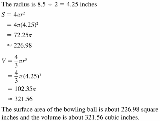 Big Ideas Math Geometry Answers Chapter 11 Circumference, Area, and Volume 11.8 Ques 27