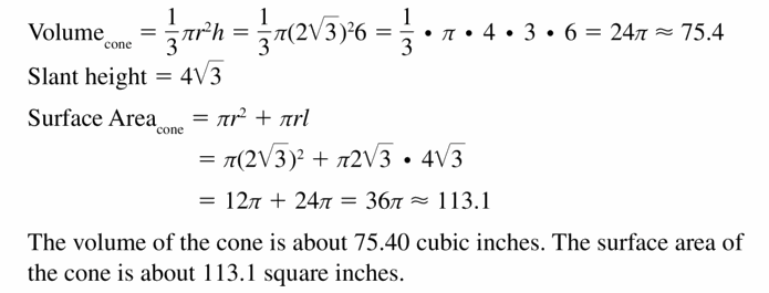 Big Ideas Math Geometry Answers Chapter 11 Circumference, Area, and Volume 11.8 Ques 47.3