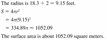Big Ideas Math Geometry Answers Chapter 11 Circumference, Area, and Volume 11.8 Ques 5