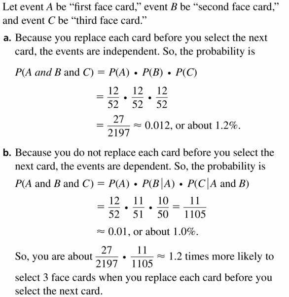 Big Ideas Math Geometry Answers Chapter 12 Probability 12.2 Qu 19