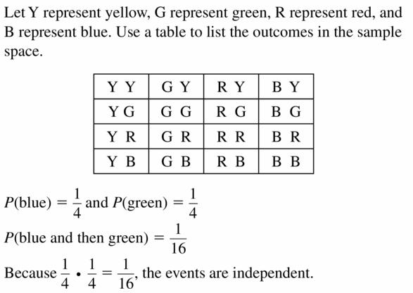 Big Ideas Math Geometry Answers Chapter 12 Probability 12.2 Qu 7