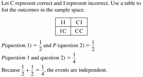 Big Ideas Math Geometry Answers Chapter 12 Probability 12.2 Qu 9