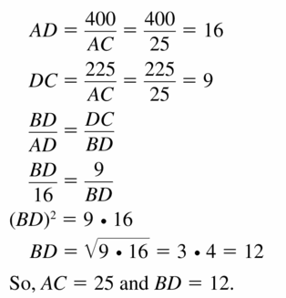 Big Ideas Math Geometry Answers Chapter 9 Right Triangles and Trigonometry 9.3 Ans 37.2