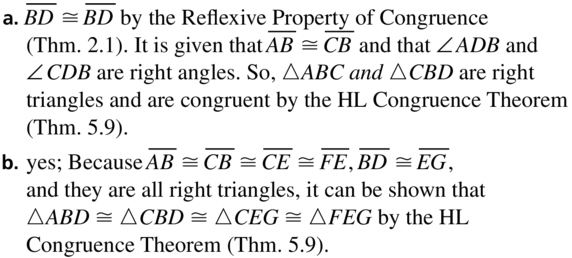 Big Ideas Math Geometry Solutions Chapter 5 Congruent Triangles 5.5 a 35