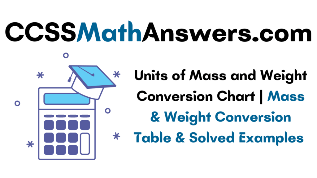 Units of Mass and Weight Conversion Chart