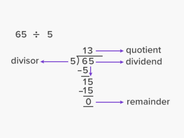 terms of division in 65 divided by 5