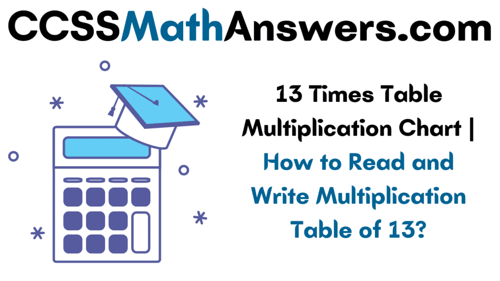 13 Times Table Multiplication Chart