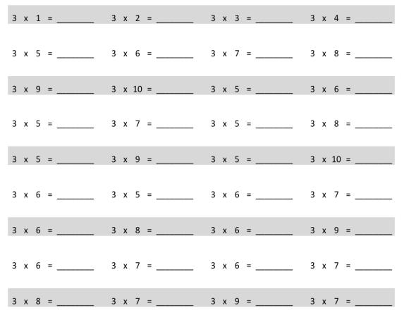 EngageNY Math Grade 3 Module 1 Lesson 12 Pattern Sheet Answer Key 1