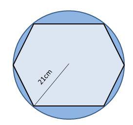 Regular Hexagon Inscribed in a Circle Shaded Region
