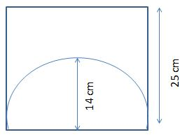 Semi Circle inscribed in a Square Shaded Region
