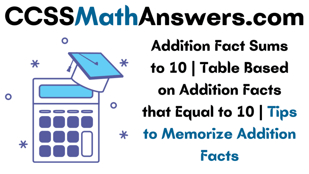 Addition Facts Sums to 10